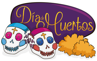 "Couple of Sugar Skulls with Marigolds for ""Dia de Muertos"", Vector Illustration"