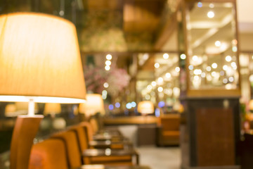 image of blur hotel lobby with bokeh for background usage