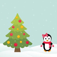 christmas fir tree with winter penguin
