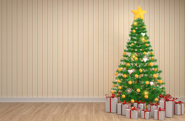 Christmas tree with decorations in the living room. 3d illustrat