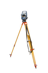 Tachymeter on tripod a total station or TST (total station theodolite) is an electronic/optical instrument used in modern surveying and building construction isolated on white background.