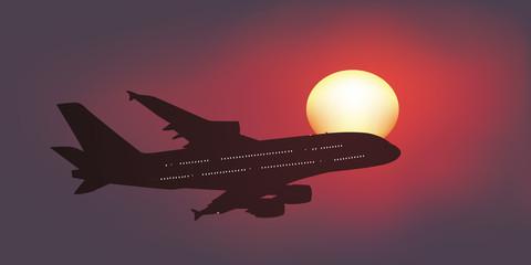 Avion de ligne - Soleil couchant