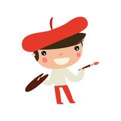 art kid. cute painter boy. flat vector character.