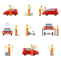 Car Repair Workshop Services Set Of Illustrations