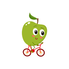 Green cheerful smiling apple riding a bicycle, cartoon vector illustration isolated on white background. Cute and focused apple character riding a bike, doing sport, fitness motivation for kids