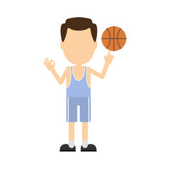 Cartoon volleyball player. Isolated character on white background. Man in the uniform with ball.