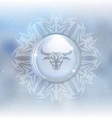 A vector illustration of a transparent snow globe in a snowflake frame on the blurred background with a zodiac sign Taurus. Includes transparent objects and opacity masks.