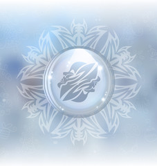 A vector illustration of a transparent snow globe in a snowflake frame on the blurred background with a zodiac sign Gemini. Includes transparent objects and opacity masks.