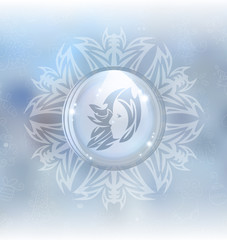 A vector illustration of a transparent snow globe in a snowflake frame on the blurred background with a zodiac sign Virgo. Includes transparent objects and opacity masks.