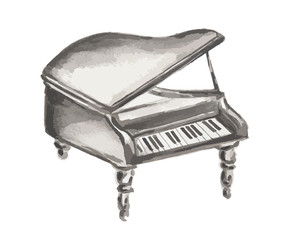 Watercolor isolated piano on white background. Orchestral equipment.