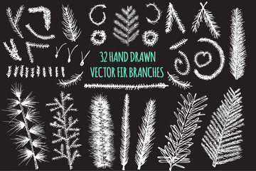Set of 32 Hand Drawn Fir Branches, Christmas Tree, Vector elements isolated on black background.