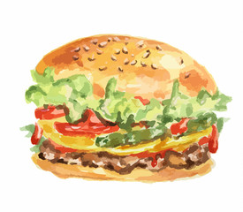 Isolated hamburger on white background. Fresh and delicious hamburger with tomatoes, lettuce, meat and sauce. Watercolor art.