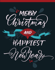 Merry Christmas and happiest New Year greeting card with Christmas decorations.