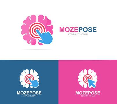 Vector brain and click logo combination. Education and cursor symbol or icon. Unique science and idea logotype design template.