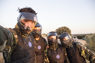 Selfie photo of paintball players
