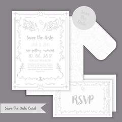 Elegant Save the date with geometric frame in linear style. element for design with tag and RSVP cards, leaves, tree and birds.