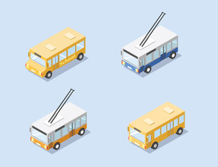 Vector isometric set of public city transport ,orange bus, school bus, trolleybus