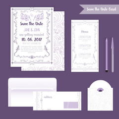 Printable Save the date with geometric blue frame in linear style. element for design with menu and envelope,cd, leaves, tree and birds.