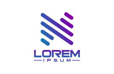 logo letter n line
