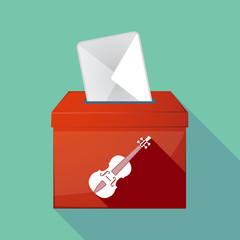 Long shadow ballot box with  a violin