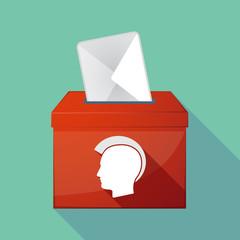 Long shadow ballot box with  a male punk head silhouette