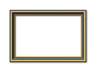 Schwarz goldener Vektor Bilderrahmen mit Reliefapplikationen isoliert auf weißem Hintergrund