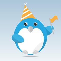 Cute penguin cartoon character on blue background. Vector illustration.
