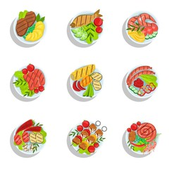 Oktoberfest Grill Set Of Food Plates Illustrations From Above