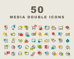 Set of 50 Minimal Simple Multimedia and Interface Double Thin Line Icons.