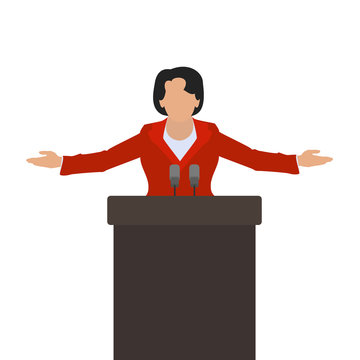 A woman politician, a woman speaker on the podium. Vector