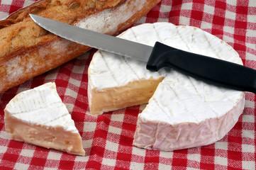 Camembert entamé sur une nappe à carreaux avec du pain et un couteau