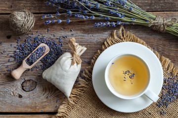 Bunch of lavender flowers, sachets and lavender tea cup