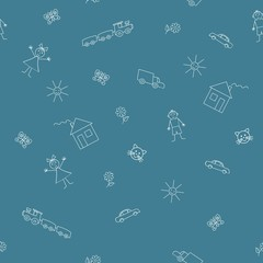 Seamless sample with a children's drawings on a blue background. Vector illustration. It can be used as a background for the websites, packing, fabrics
