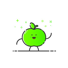 Vector illustration of funny apple character cartoon isolated in line style. Linear green cute fruit icon with face smile. Flat design for banner, web page and mobile app. Outline vegan expression.
