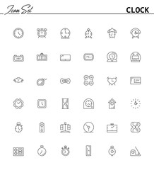 Clock line icon. Vector high quality outline pictogram of clock. Sign of element for home's interior. Thin line icon for design website or mobile app. Black symbol on format EPS 10 for logo.