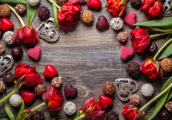 chocolate truffles with red flowers