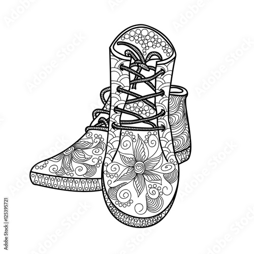 Womens Shoes With A Beautiful Pattern Footwear Hands Sketch Doodle Element Printing On T