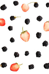 blackberry and strawberry berries on a white background top view of a flat style summer fresh berries pattern