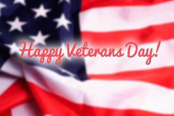 Happy Veterans Day on USA flag background