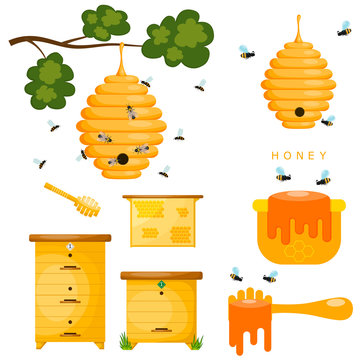 Set of yellow objects beekeeper. Yellow bee hive on a white back