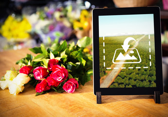 Tablet on a Florist's Table Mockup 2
