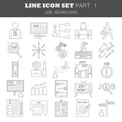 Human management icons. Job searching set. Thin line pictogram for webdesign. Outline high quality sign for design websete, mobile app, logo.