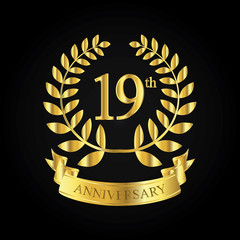 19th golden anniversary logo, first celebration with ribbon