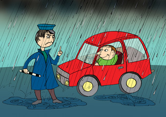 Policeman stopping car in the rain, cartoon