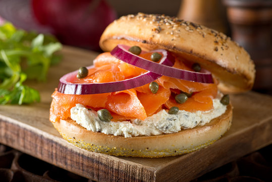 Toasted Bagel with Smoked Salmon and Cream Cheese