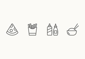 40 Minimalist Fast Food Icons