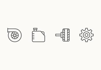 35 Minimalist Auto Mechanics Icons