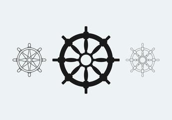 12 Nautical Wheel Icons
