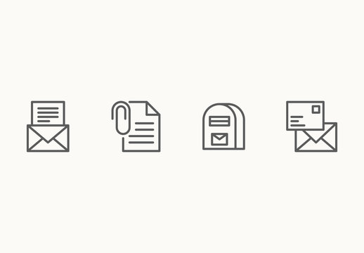 35 Minimalist Mail and Email Icons