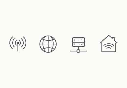 40 Minimalist Networking Icons